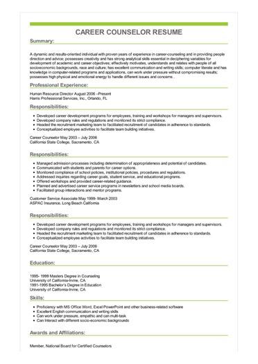 school counselor resume