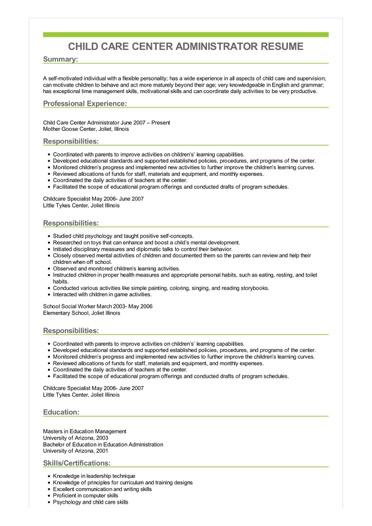 Sample Child Care Center Administrator Resume