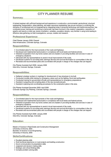 Sample City Planner Resume