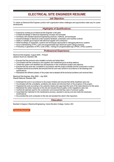 power engineering resume examples