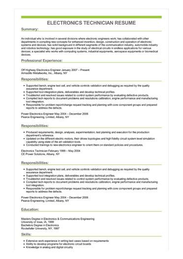 Sample Electronics Technician Resume