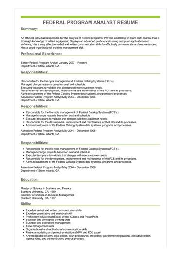 Sample Federal Program Analyst Resume