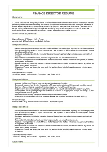 Finance Director Resume  Great Sample Resume