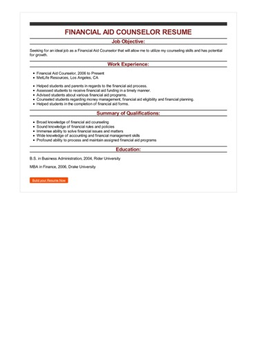 Sample Financial Aid Counselor Resume