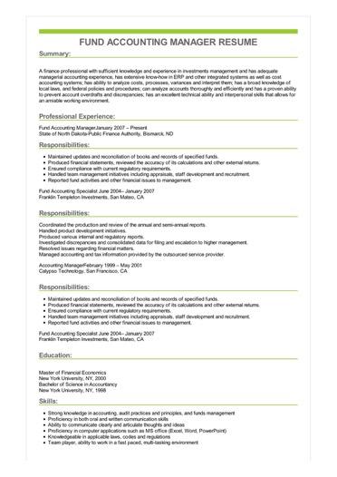 fund accounting resume sample