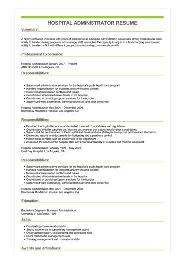 Sample Hospital Administrator Resume