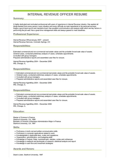 Sample Internal Revenue Officer Resume