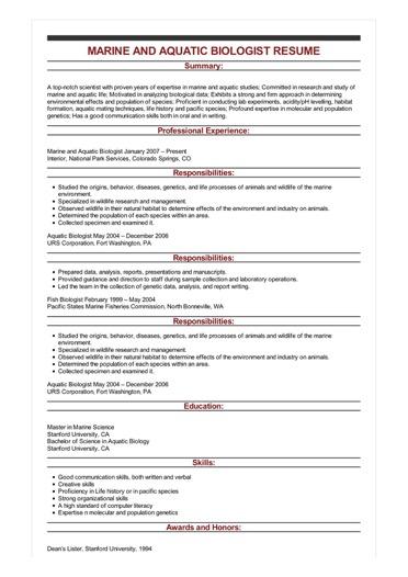 marine biologist resume sample