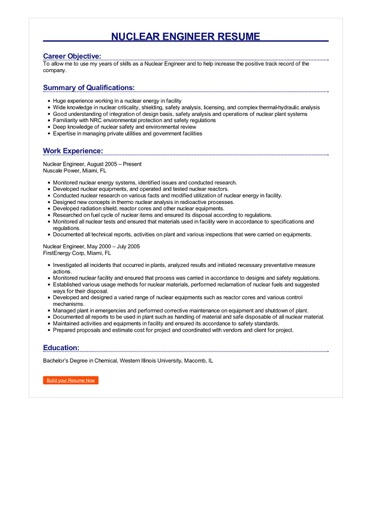 Sample Nuclear Engineer Resume  How to Write Nuclear