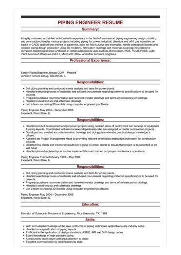 Sample Piping Engineer Resume