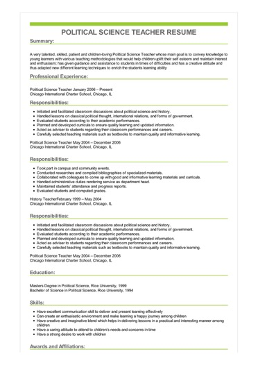 political science resume objective examples