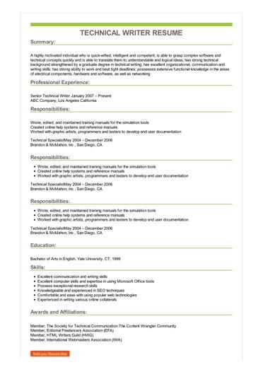 Sample Technical Writer Resume