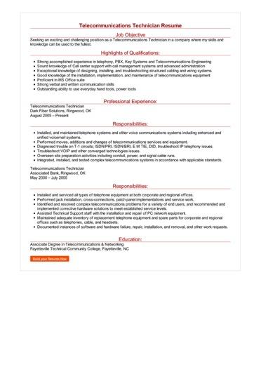 Telecommunications Technician Resume  Great Sample Resume