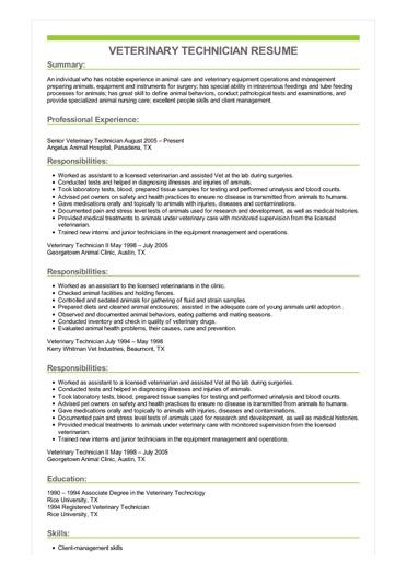 resume objective veterinary technician