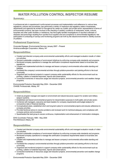 Sample Water Pollution Control Inspector Resume