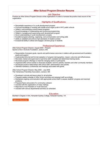 after school program resume sample