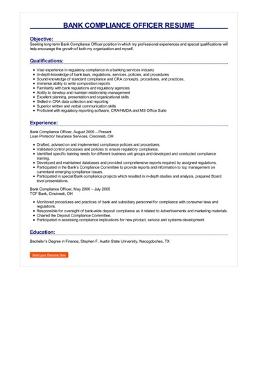 Bank Compliance Officer Resume Great Sample Resume
