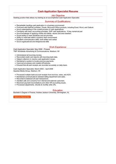 Cash Application Specialist Resume  Great Sample Resume