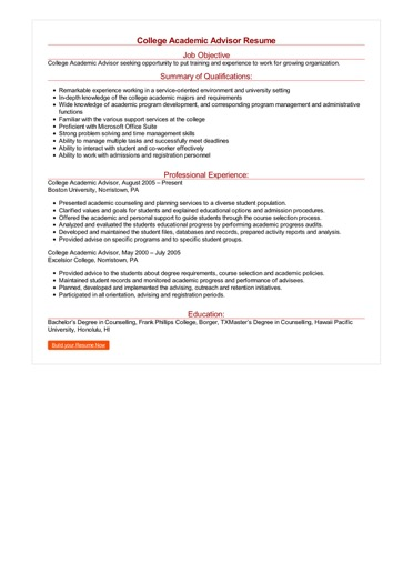College Academic Advisor Resume  Great Sample Resume