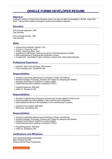 Oracle Forms Developer Resume  Great Sample Resume