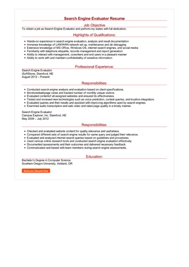 Search Engine Evaluator Resume  Great Sample Resume