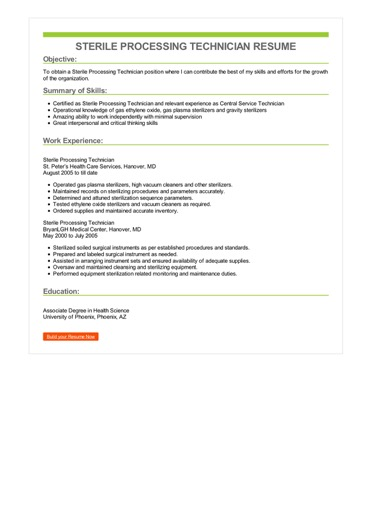 Sterile Processing Technician Resume  Great Sample Resume