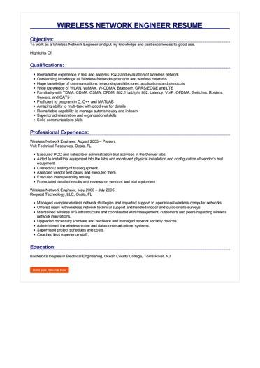 Wireless Network Engineer Resume  Great Sample Resume