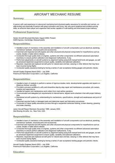 sample aircraft mechanic resume