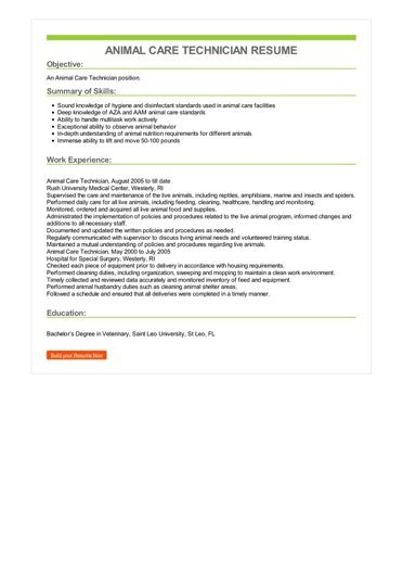 Veterinary Technician Resumes - Resume Examples | Resume