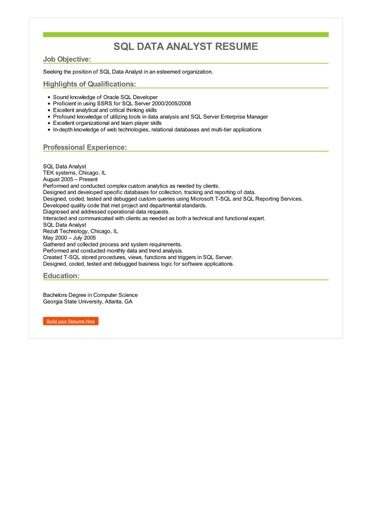 sql reporting analyst resume sample