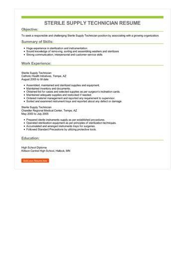 Sterile Supply Technician Resume Sample  Best Format