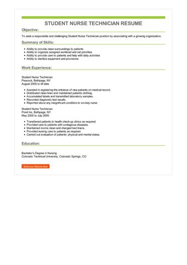 Student Nurse Technician Resume Sample U2013 Best Format