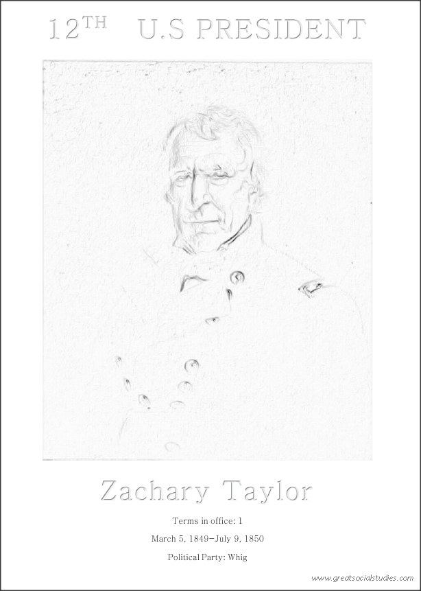12th US president, Zachary Taylor, printable coloring page