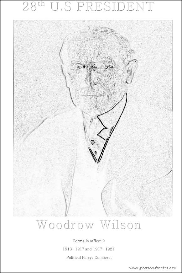 28th US president, Woodrow Wilson, free printable coloring