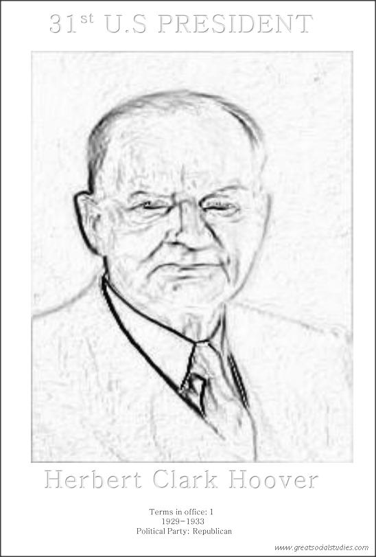 31st US President, Herbert Clark Hoover, coloring sheet