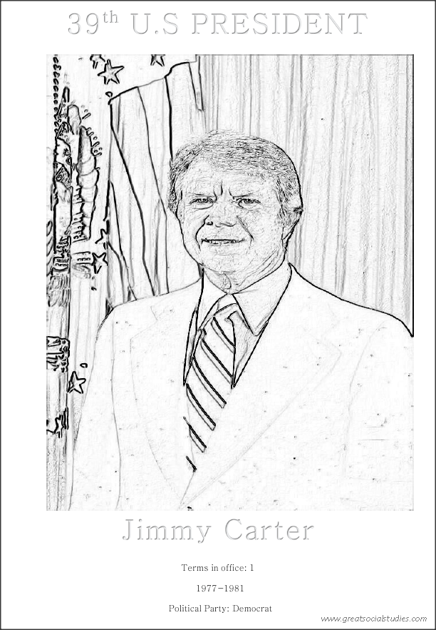 39th US President, Jimmy Carter, printable kids coloring
