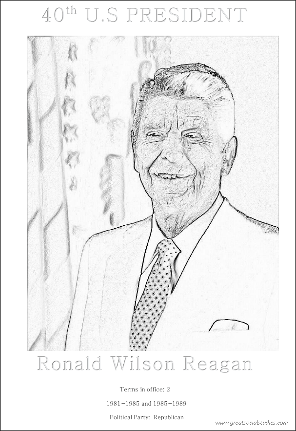 40th US President, Ronald Wilson Reagan, free activity