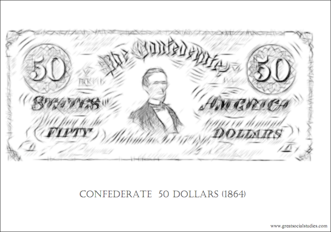 Coloring Sheet United States Currency Confederate 50