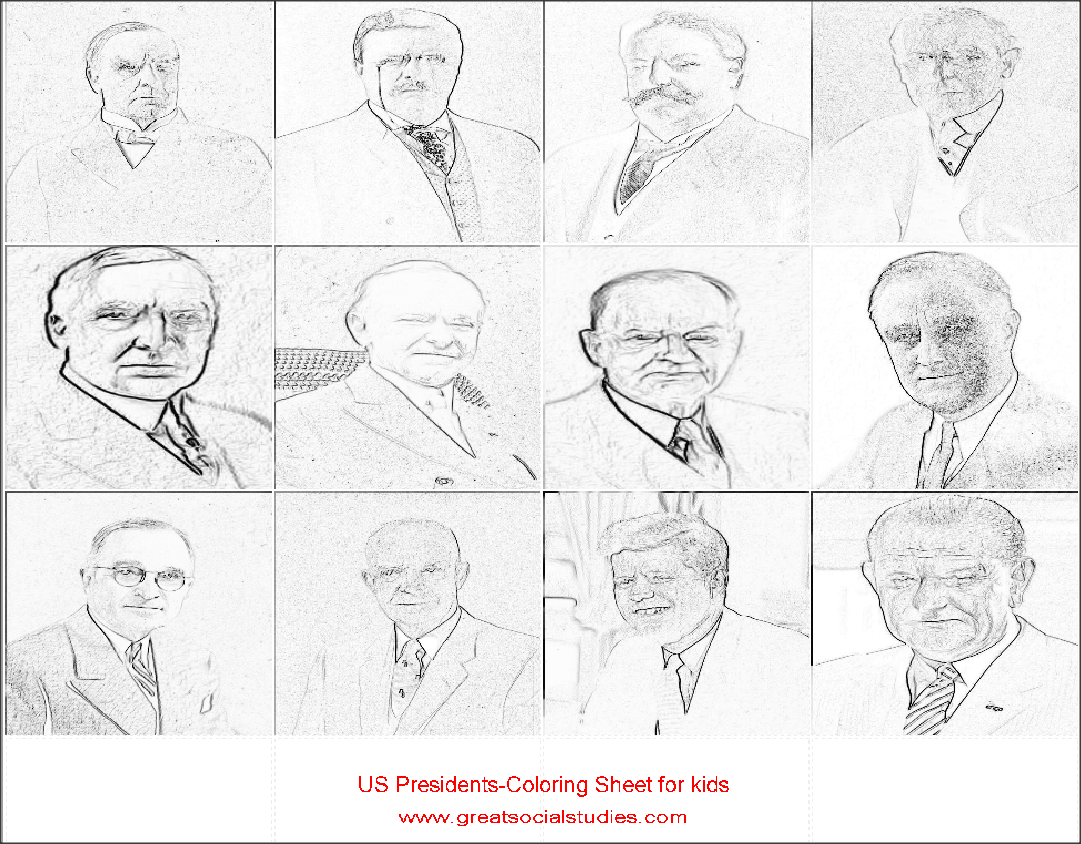 coloring sheets for teens, all US Presidents, print to