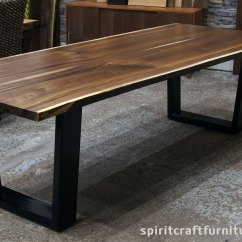 Live Edge Kitchen Table Cabinets Hinges Replacement Custom Solid Hardwood Tops Slabs Walnut Dining In Book Matched With Black Steel Trapezoid Legs
