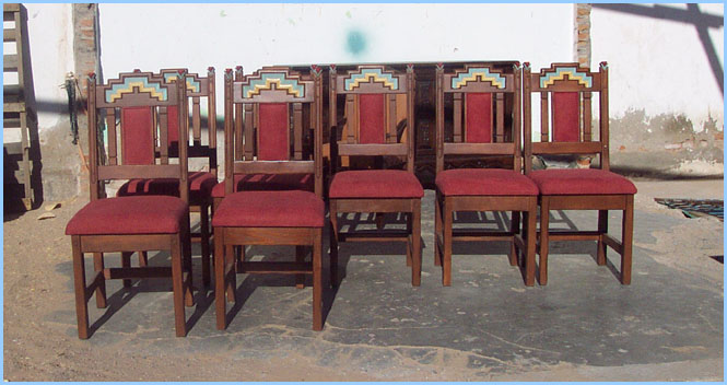 southwest dining chairs who sells bean bag anasazi set tables trestle china eight with cushion in back