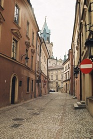 Narrow paved road in Lublin