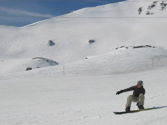 Snowboarding on a snow slope