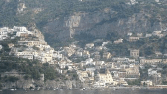 The Italian town of Positano at the foot of cliffs