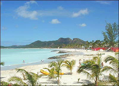 One of the many beaches of the island