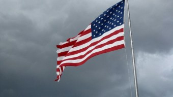 USA flag in the wind