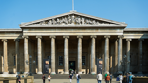 Magnificent entrance to the British Museum