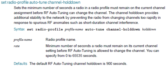Radio Profile Auto Tune channel holddown