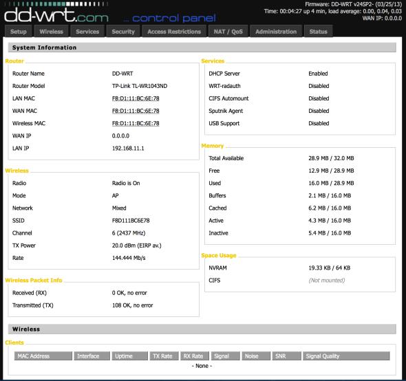 dd-wrt system info