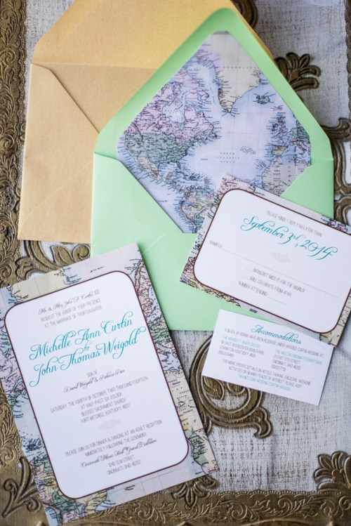 travel theme wedding invitations